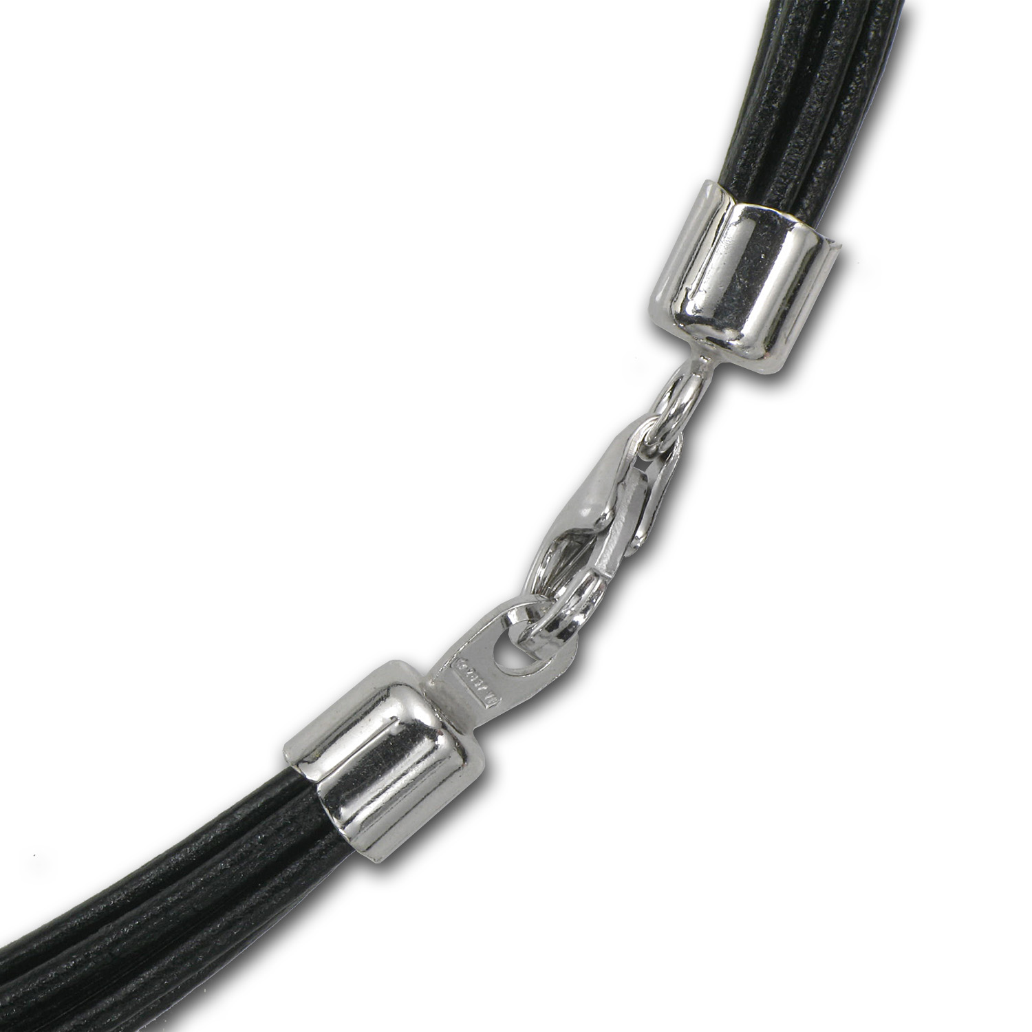 Black Multi-Cord Leather Necklace - 16 in.