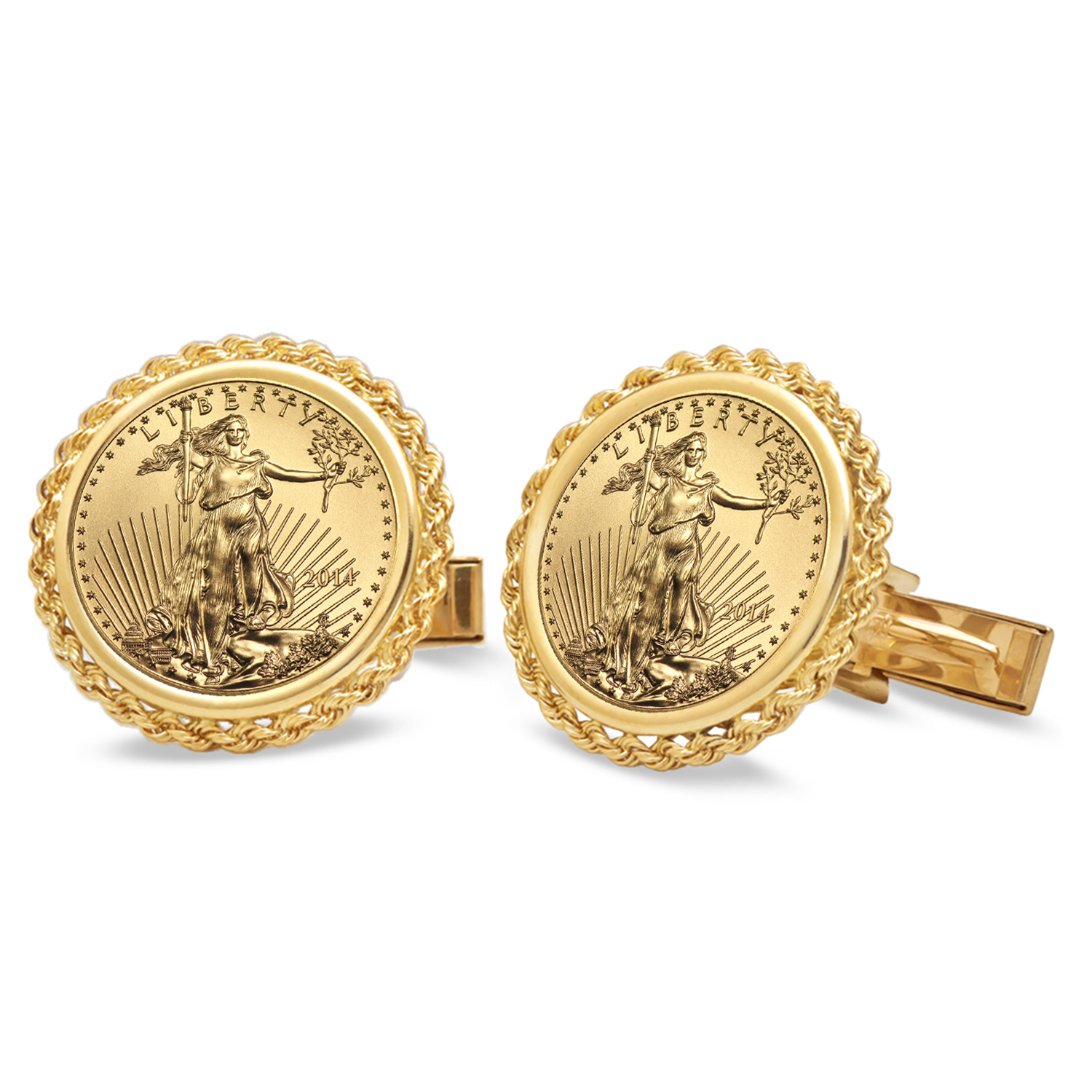 2014 1/10-oz Gold Eagle Cuff Links (Polished Rope)