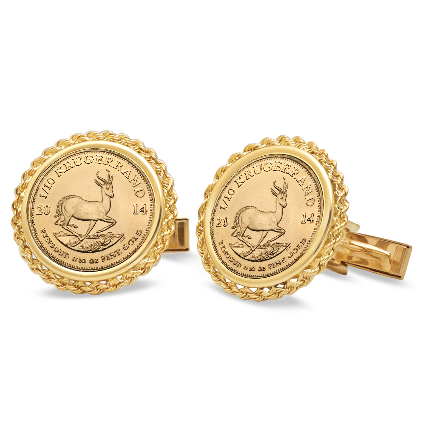 2014 1/10 oz Gold Krugerrand Cuff Links (Polished Rope)