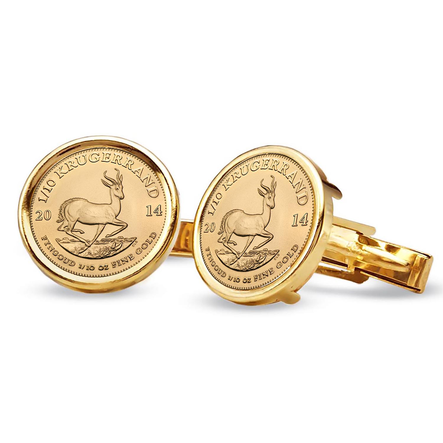 2014 1/10 oz Gold Krugerrands Cuff Links (Polished Plain)