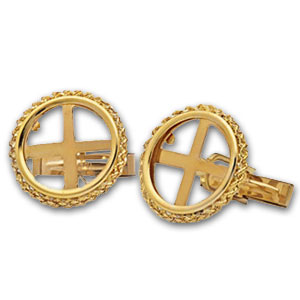 2014 1/10 oz Gold Panda Cuff Links (Polished Rope)
