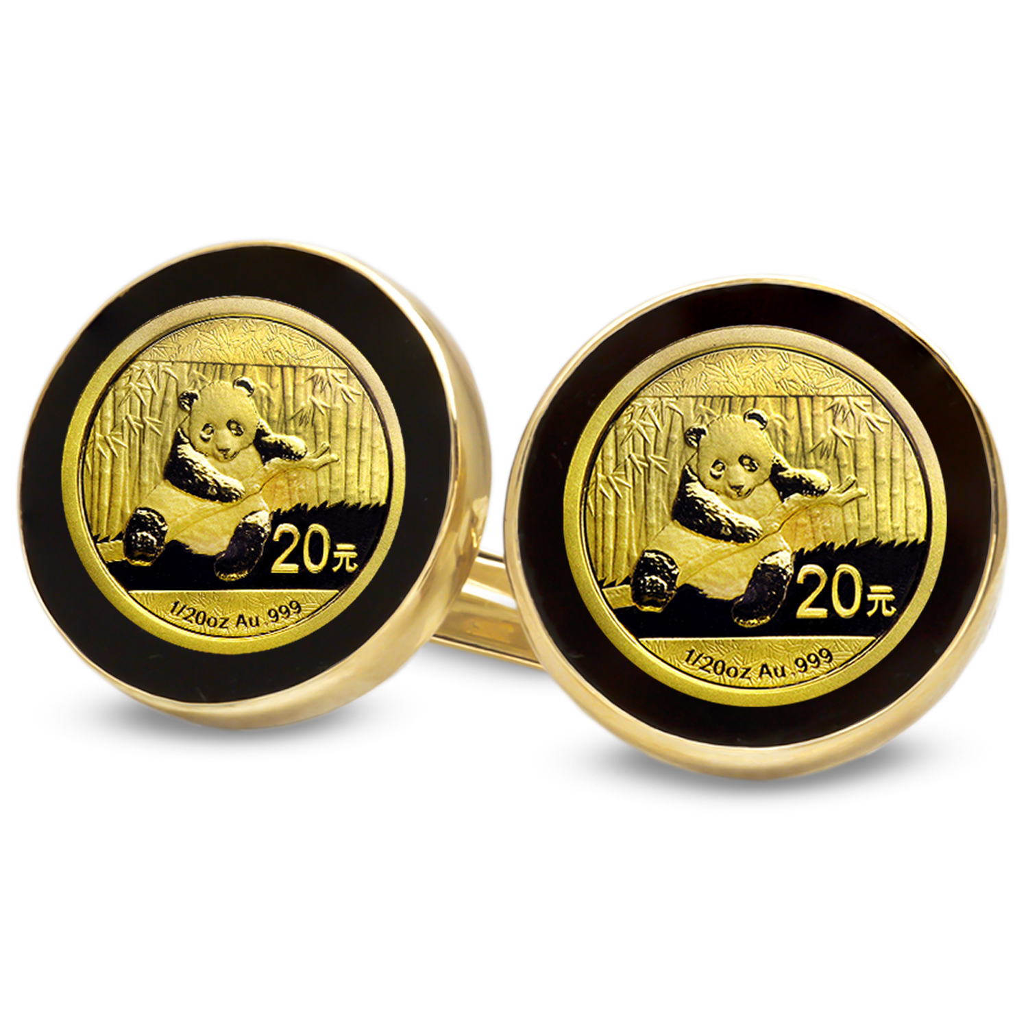 2014 1/20 oz Gold Panda Cuff Links (Onyx Polished)