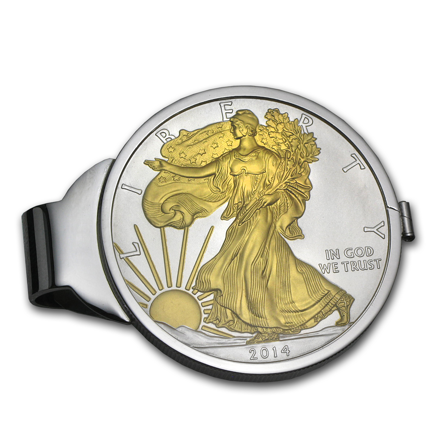 2014 1 oz Silver Gilt Eagle Money Clip (Sterling Silver Polished)