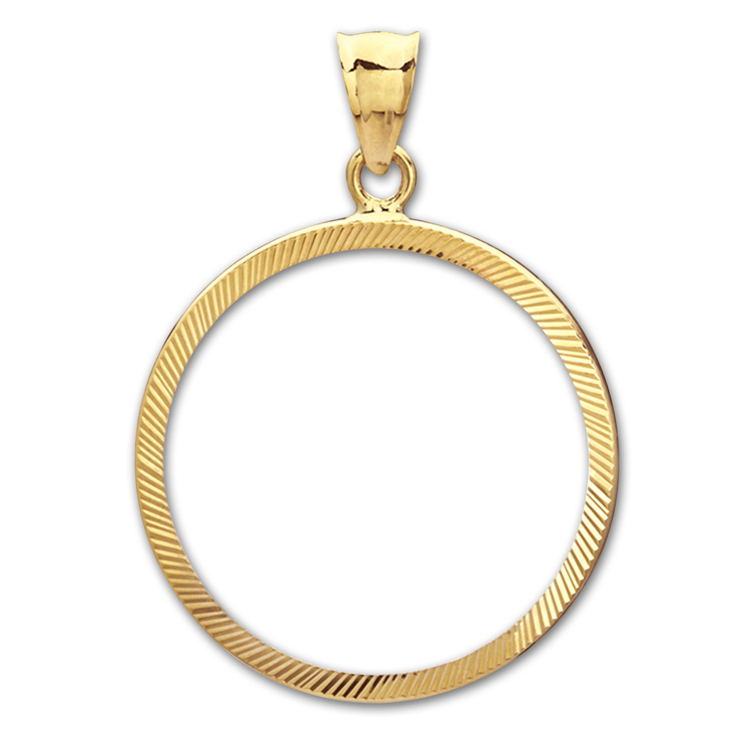 14K Gold Prong Diamond-Cut Coin Bezel - 22 millimeter