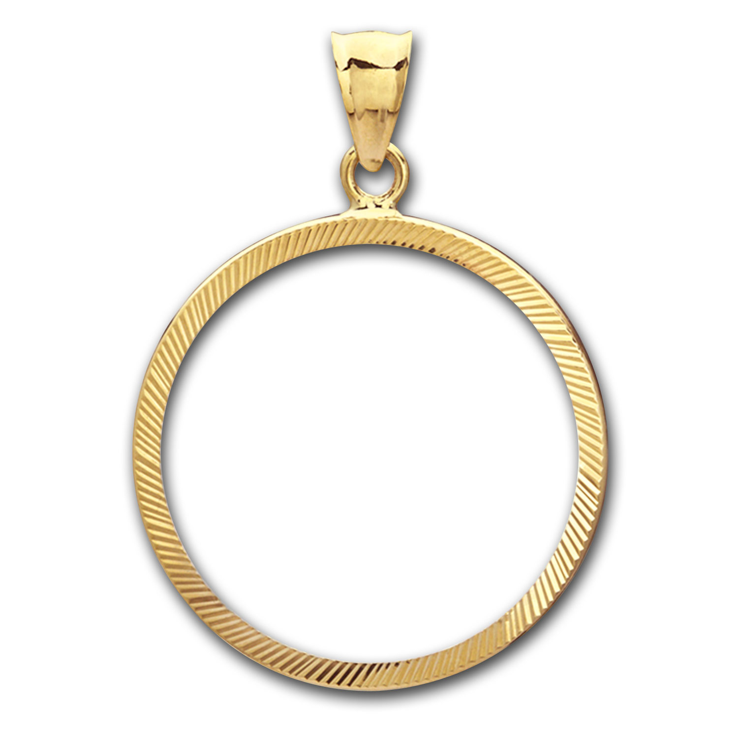 14K Gold Prong Diamond-Cut Coin Bezel - 27 millimeter