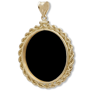 14K Gold Onyx Screw Top Rope Polished Bezel - 16.5 mm