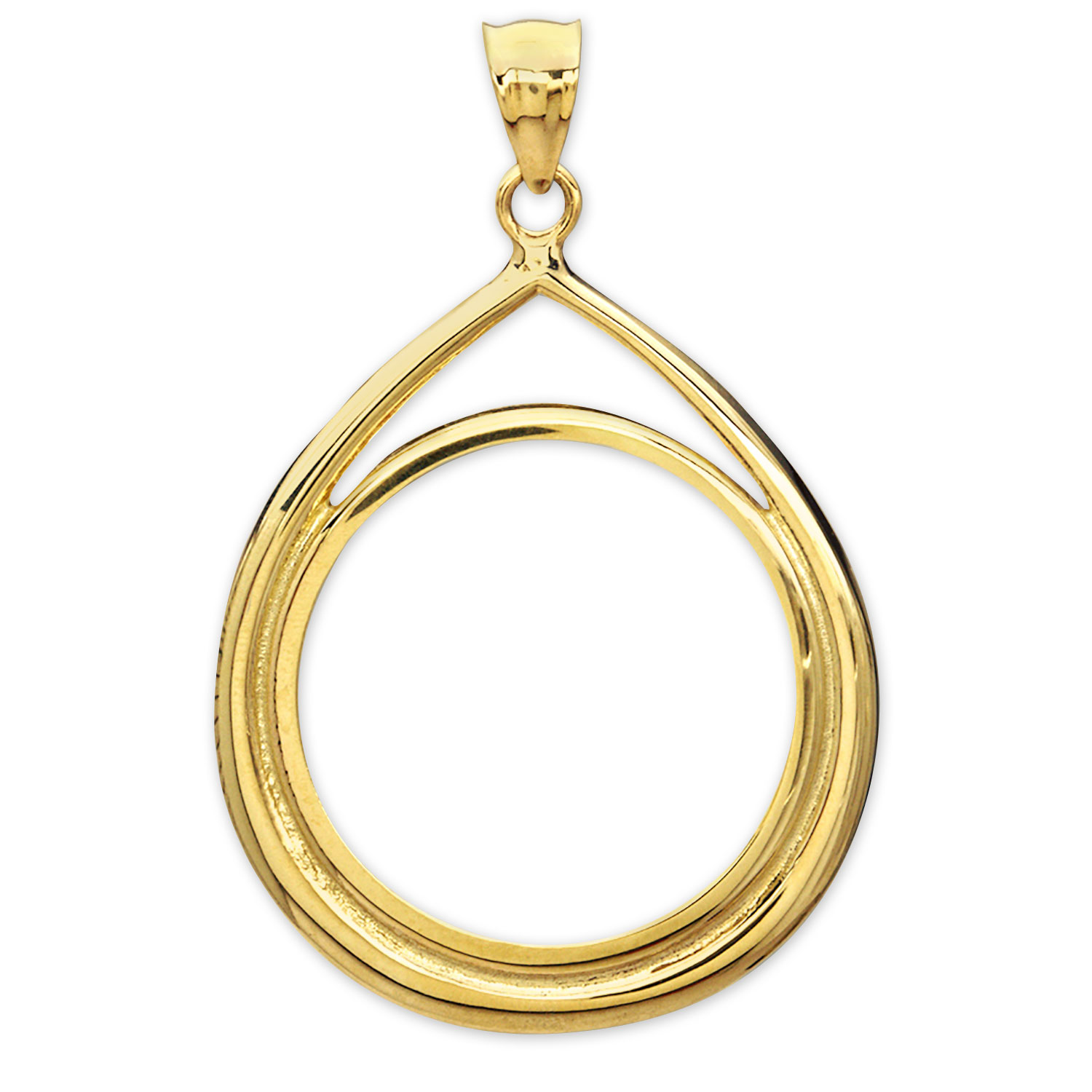 14K Gold Prong Tear Drop Coin Bezel - 27 mm