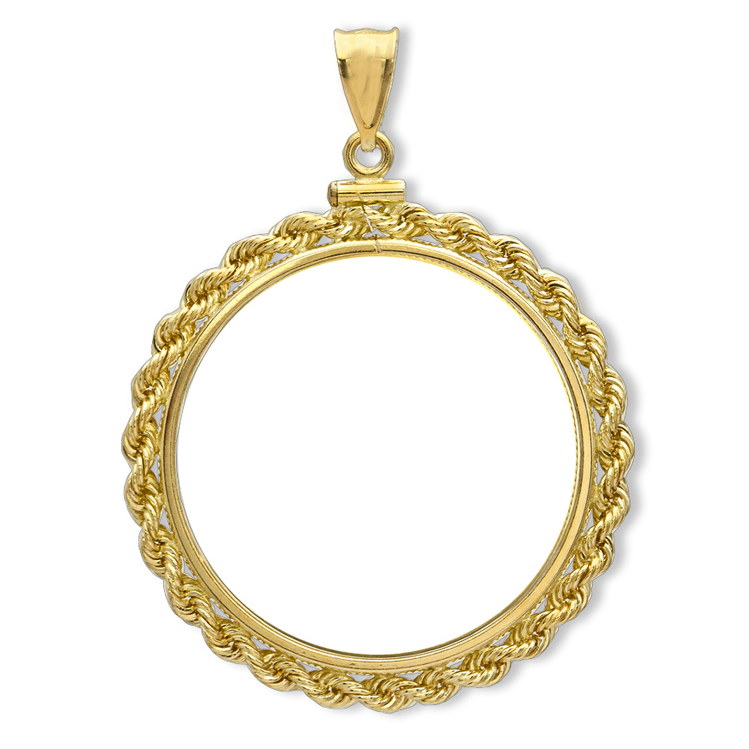 14K Gold Screw-Top Rope Polished Coin Bezel - 22 mm