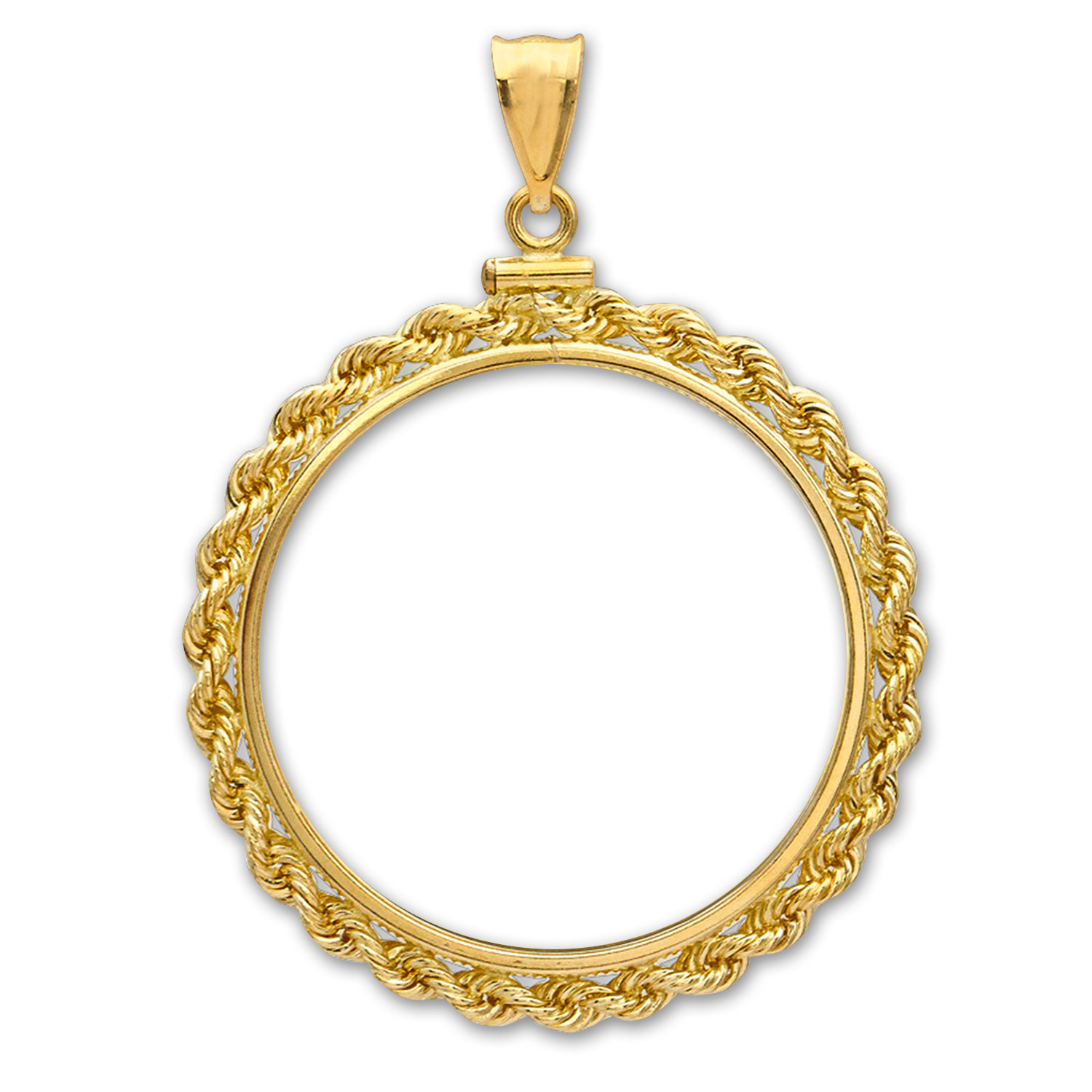 14K Gold Screw-Top Rope Polished Coin Bezel - 17.8 mm