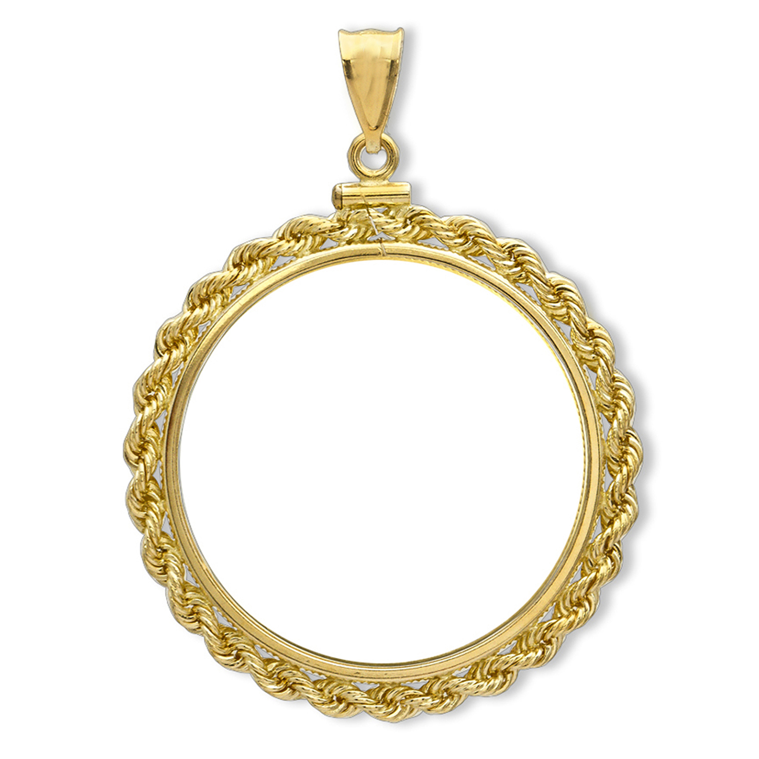 14K Gold Screw-Top Rope Polished Coin Bezel - 13 mm