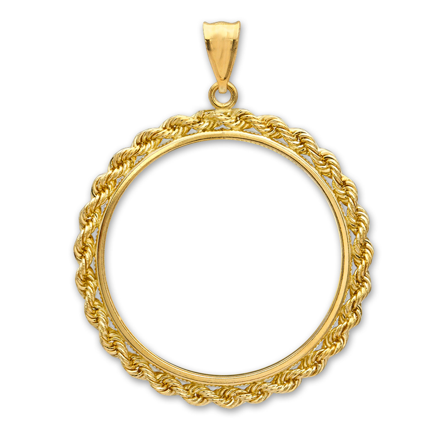 14K Gold Prong Rope Polished Coin Bezel - 27 millimeter
