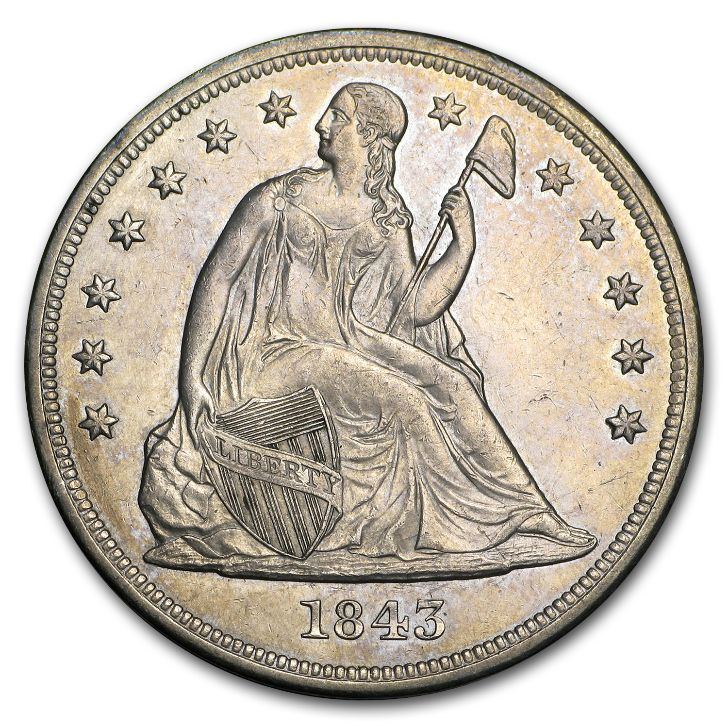 1843 Liberty Seated Dollar - Almost Uncirculated