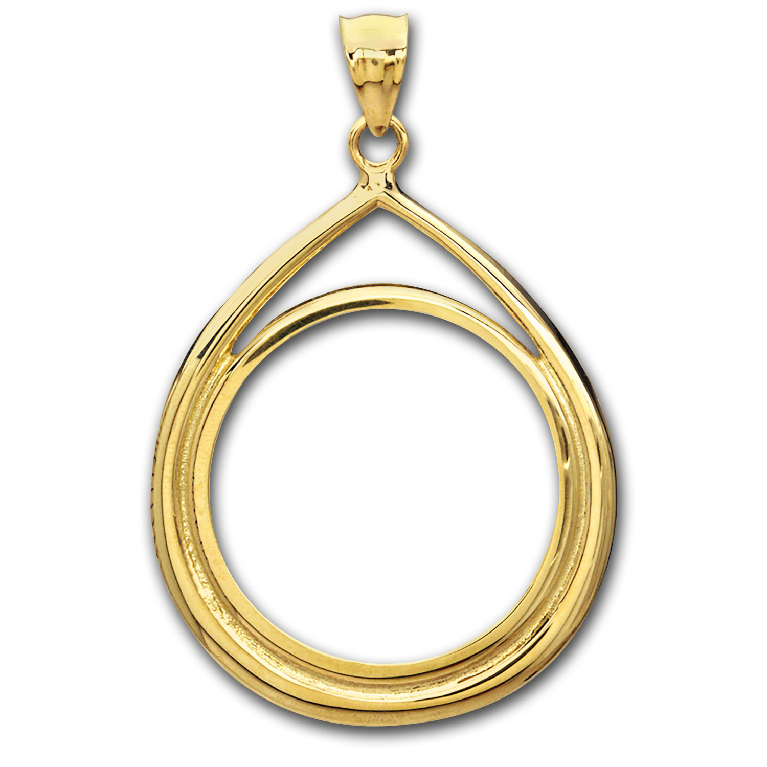 14K Gold Prong Tear Drop Coin Bezel - 14 mm