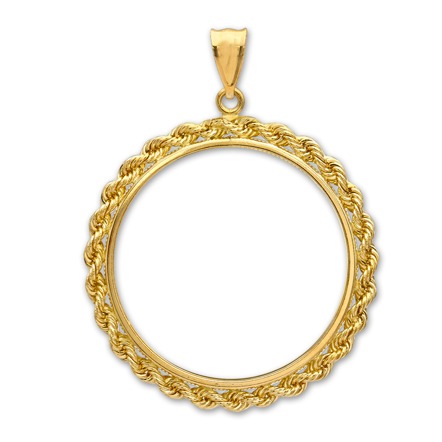14K Gold Prong Rope Polished Coin Bezel - 32 mm