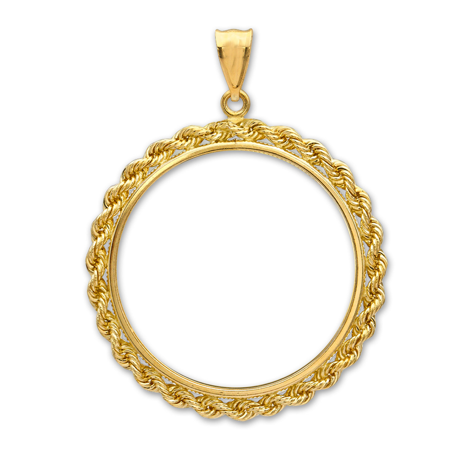 14K Gold Prong Rope Polished Coin Bezel - 32.7 mm