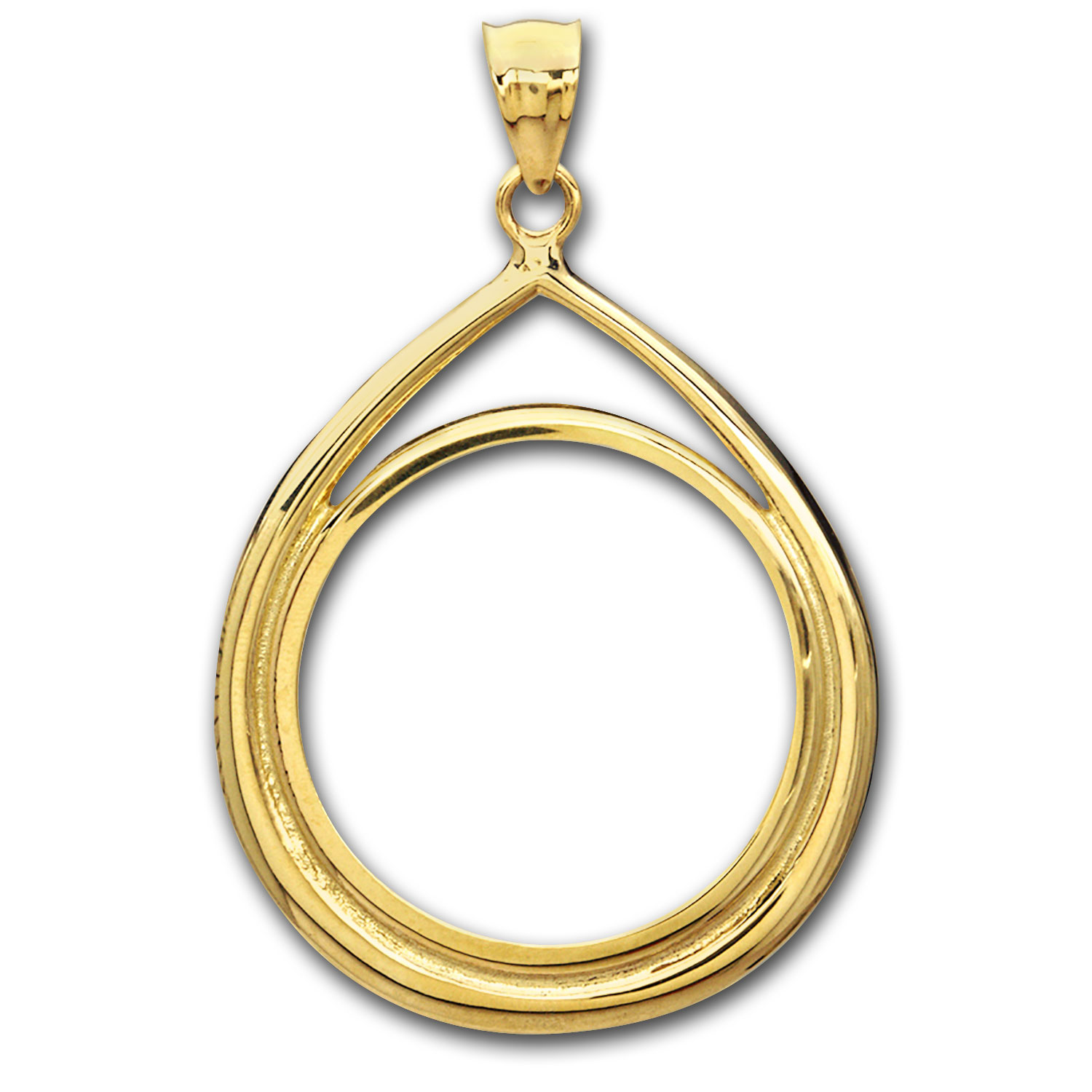 14K Gold Prong Tear Drop Coin Bezel - 16.5 mm