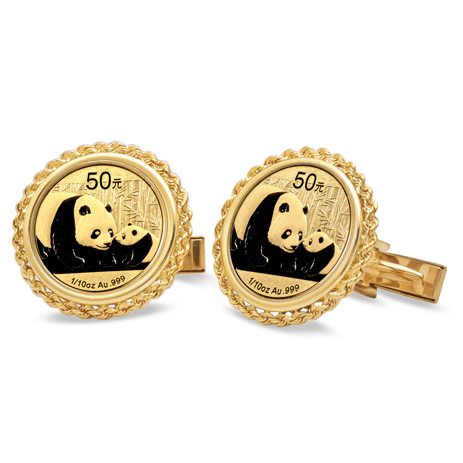 14k Gold Plain Polished Rope Coin Cuff Links - 18 mm