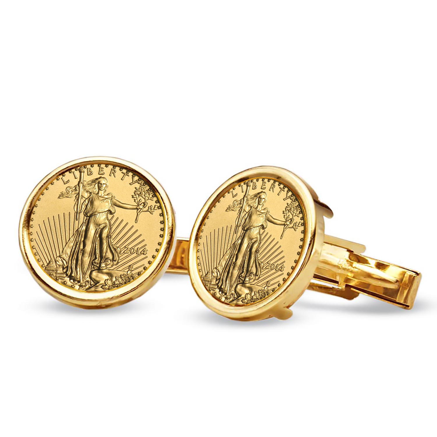 14k Gold Plain Polished Coin Cuff Links - 16.5 mm