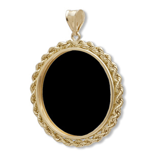 14K Gold Onyx Rope Polished Coin Bzl - 27 mm (1/2 oz Gold Eagle)