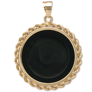 14K Gold Onyx Rope Polished Coin Bezel - 27 mm(1/2 oz Gold Eagle)