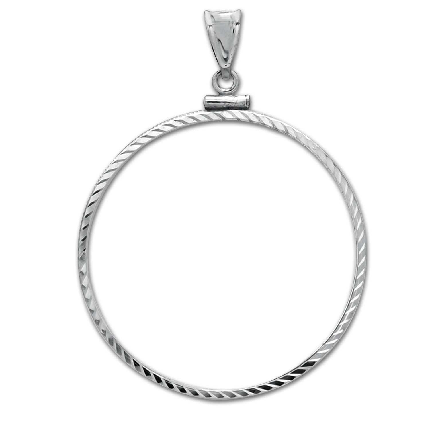 14K White Gold Screw-Top Diamond-Cut Coin Bezel - 27 mm