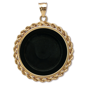 14K Gold Onyx Rope Polished Coin Bezel - 18 mm