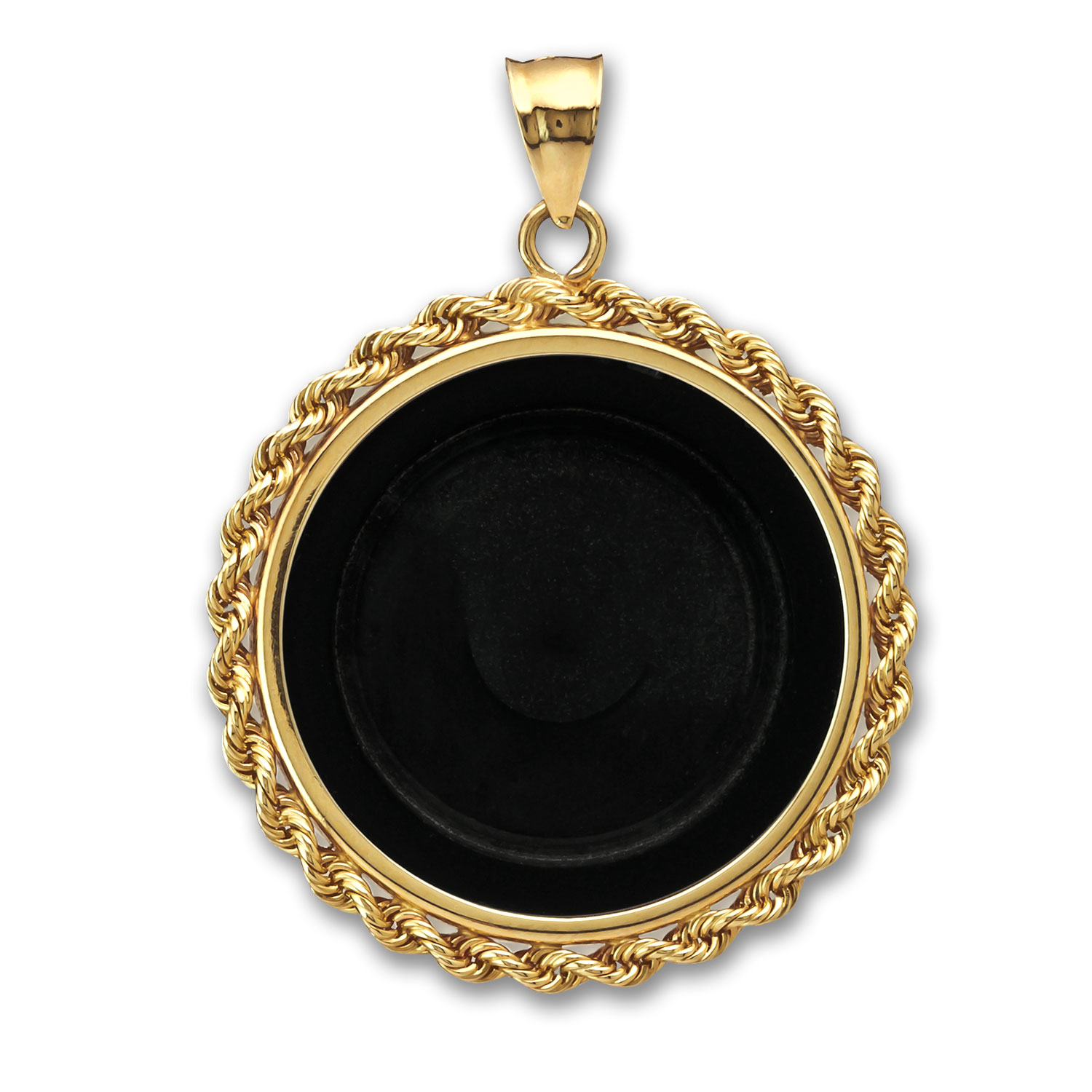 14K Gold Onyx Screw-Top Rope Polished Coin Bezel - 14 mm