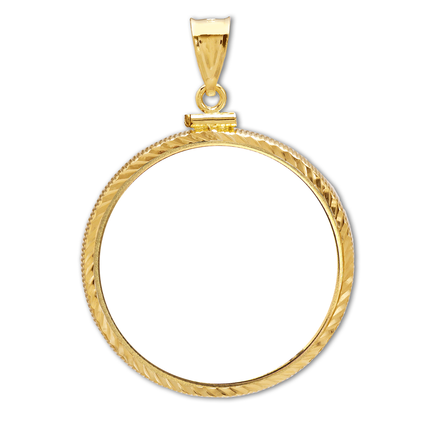 14K Gold Screw-Top Diamond-Cut Coin Bezel - 32 mm