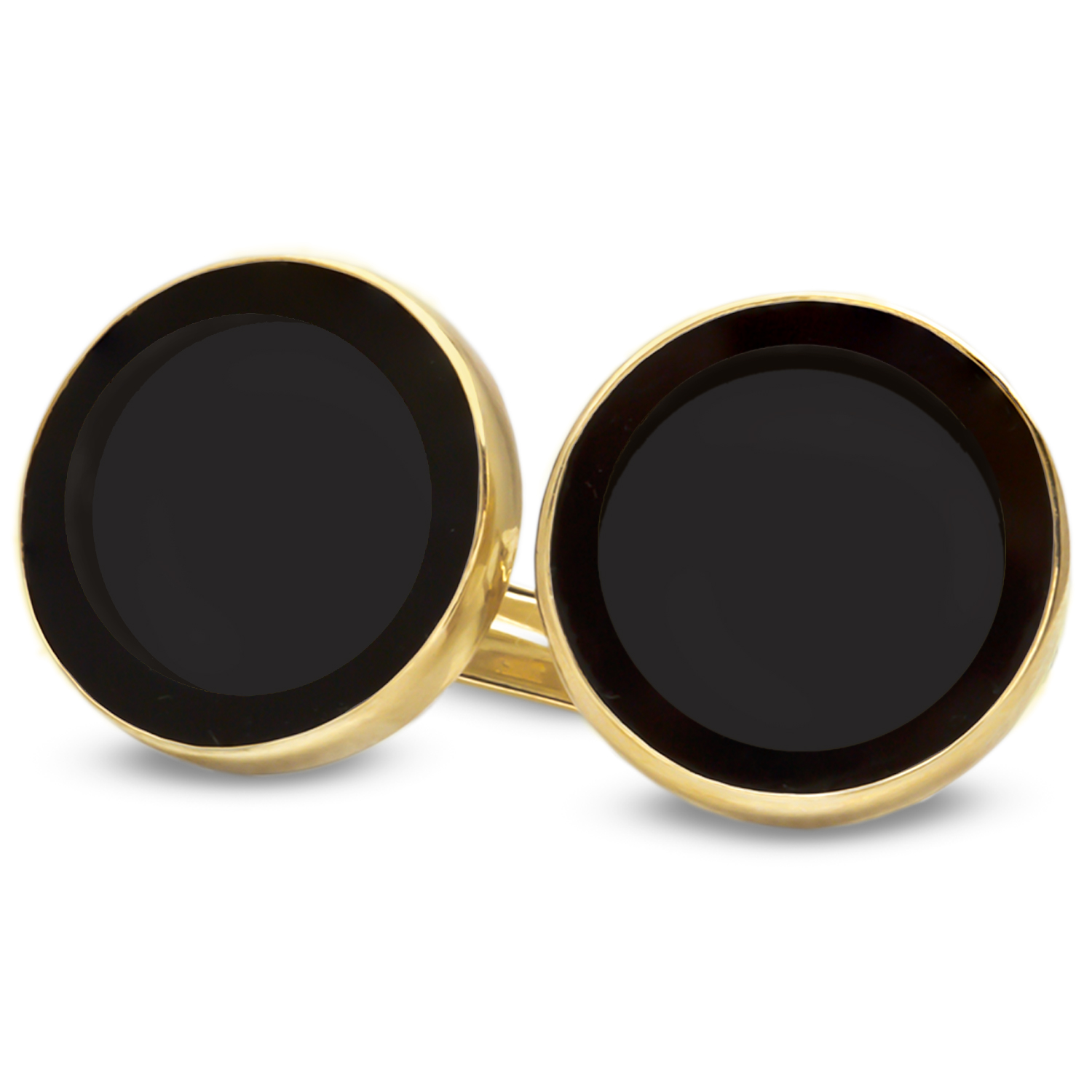 14k Gold Onyx Polished Coin Cuff Links - 14mm