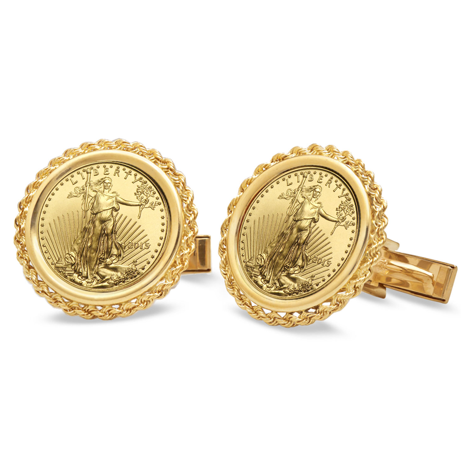 14k Gold Polished Rope Coin Cuff Links - 16.5 mm