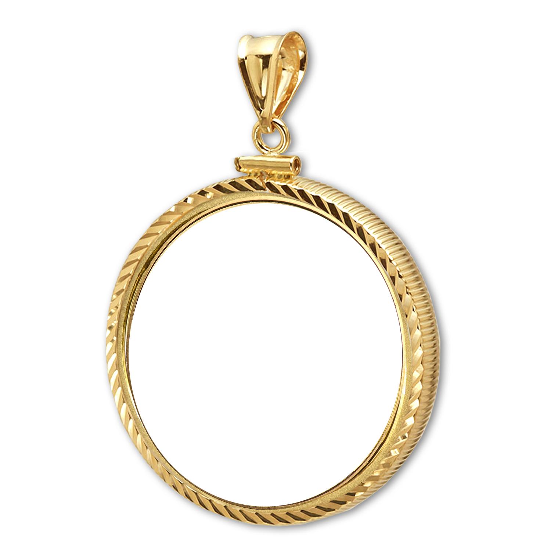 14k Gold Screw Top Diamond Cut Coin Bezel 14 Mm Gold