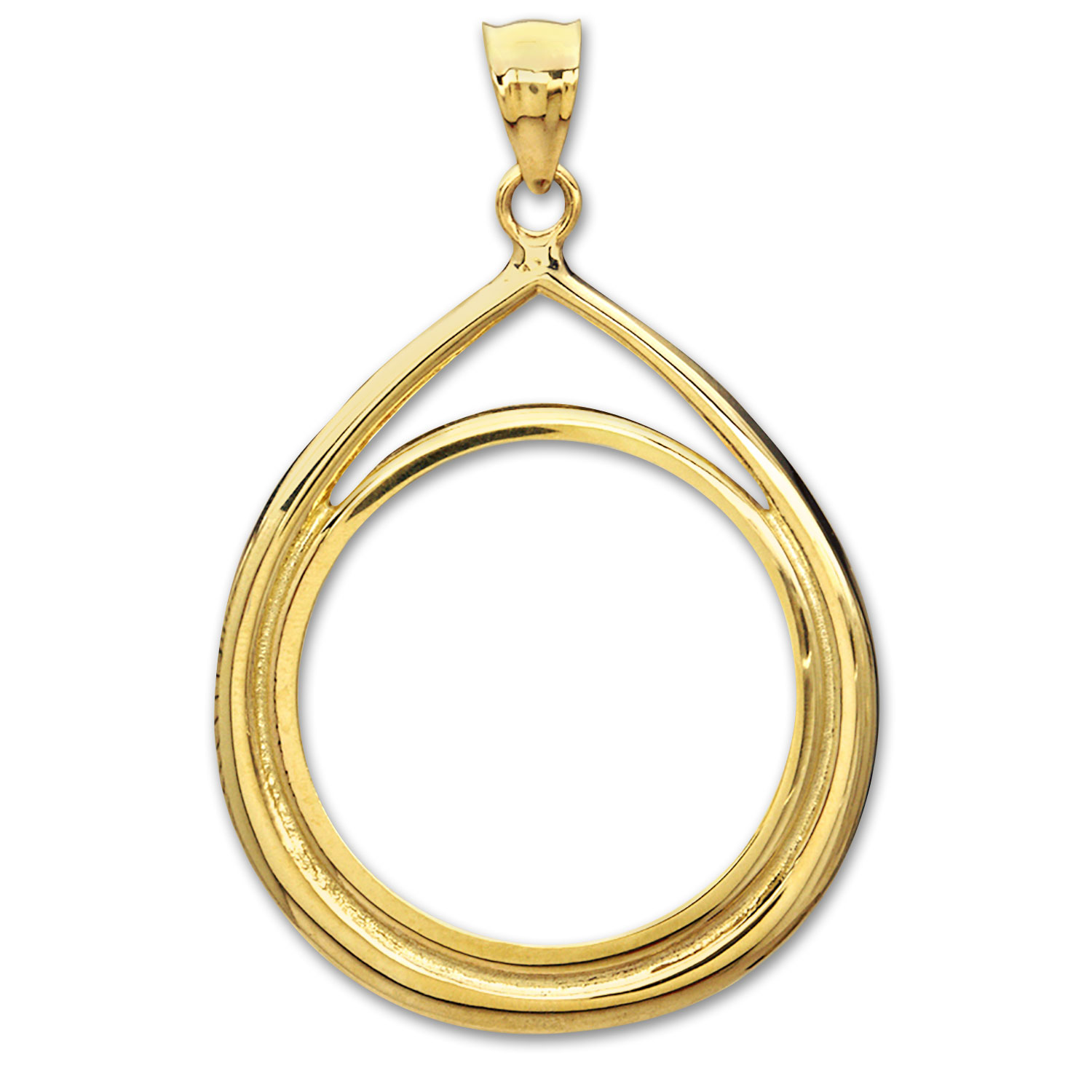 14K Gold Prong Tear Drop Coin Bezel - 32.7 mm