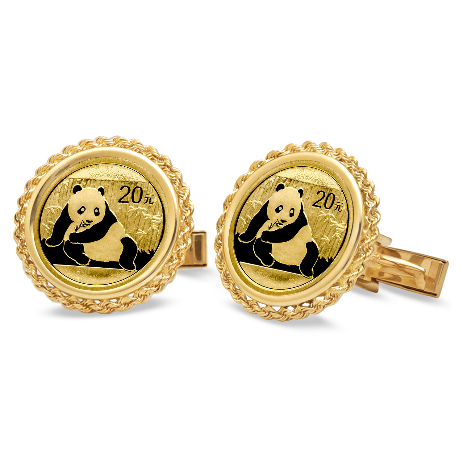 14k Gold Rope Polished Coin Cuff Links - 14mm