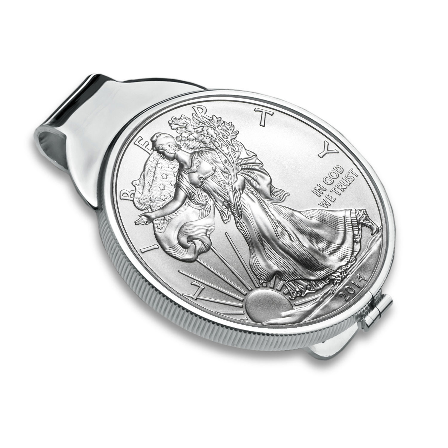 Sterling Silver Polished Coin Money Clip - 40.6mm
