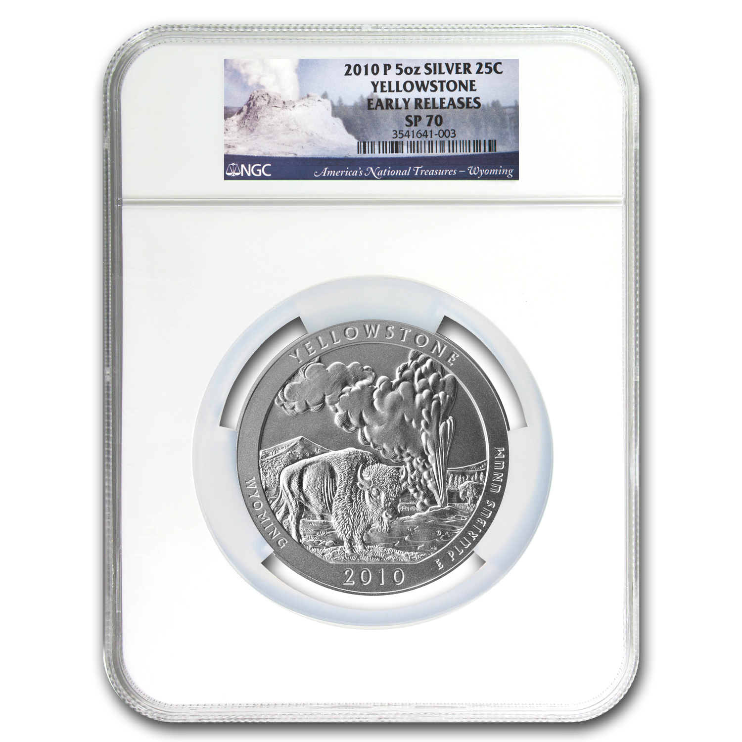 2010-P 5 oz Silver ATB Yellowstone SP-70 NGC (Early Releases)