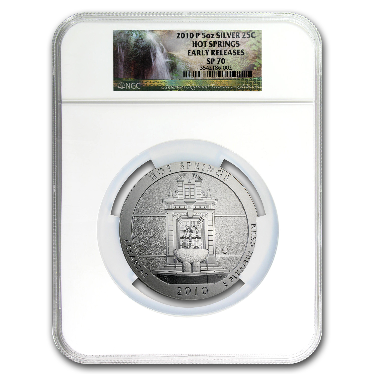 2010-P 5 oz Silver ATB Hot Springs SP-70 NGC (Early Releases)