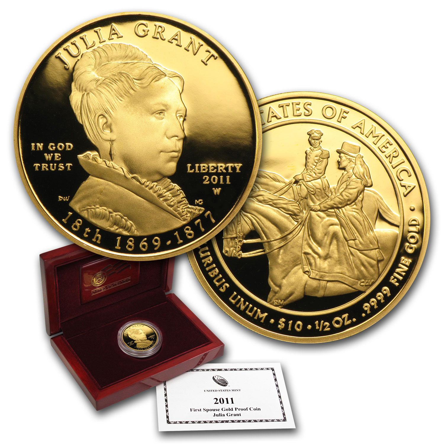 2011-W 1/2 oz Proof Gold Julia Grant (w/Box & COA)