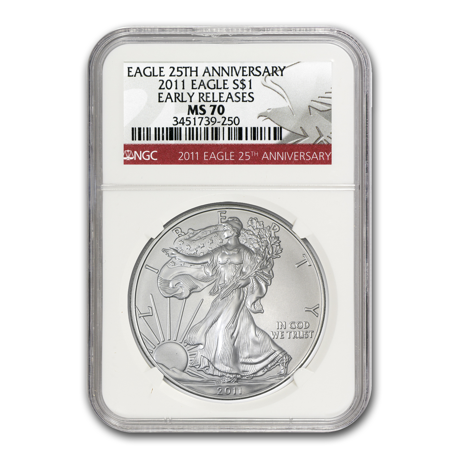 2011 Silver Eagle MS-70 NGC (25th Anniv, Red Label, ER)