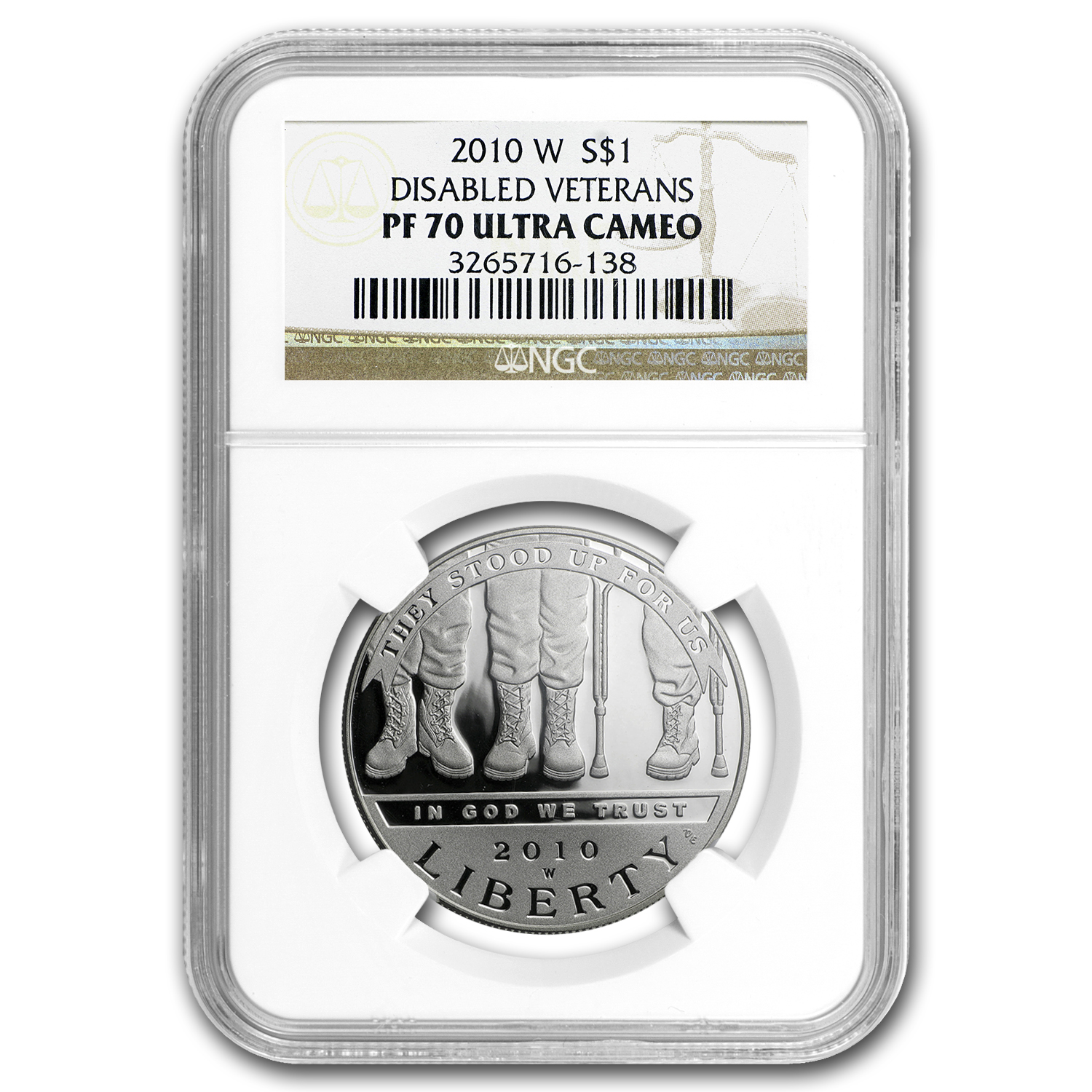 2010-W Disabled American Vets $1 Silver Commem PF-70 UCAM NGC