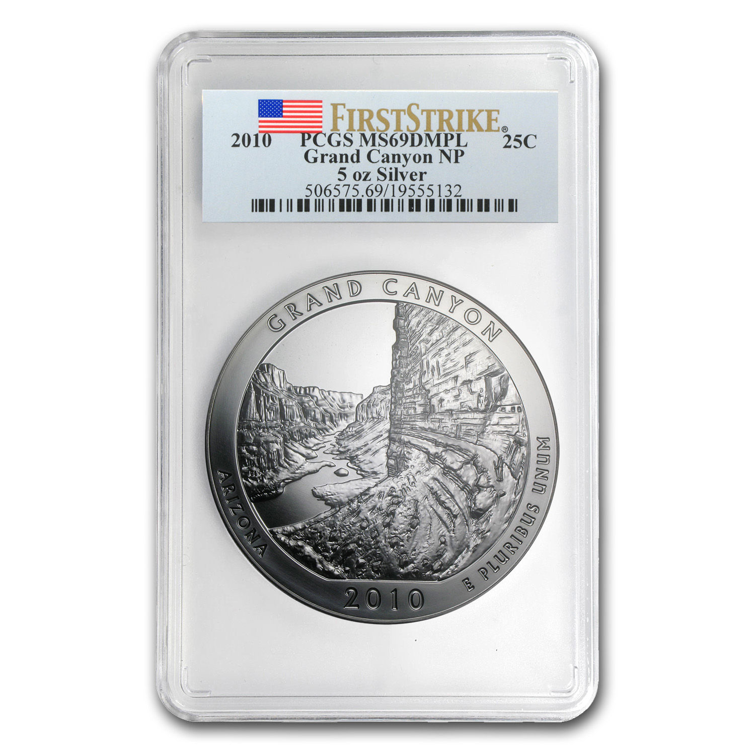 2010 5 oz Silver ATB Grand Canyon PCGS MS-69 DMPL First Strike