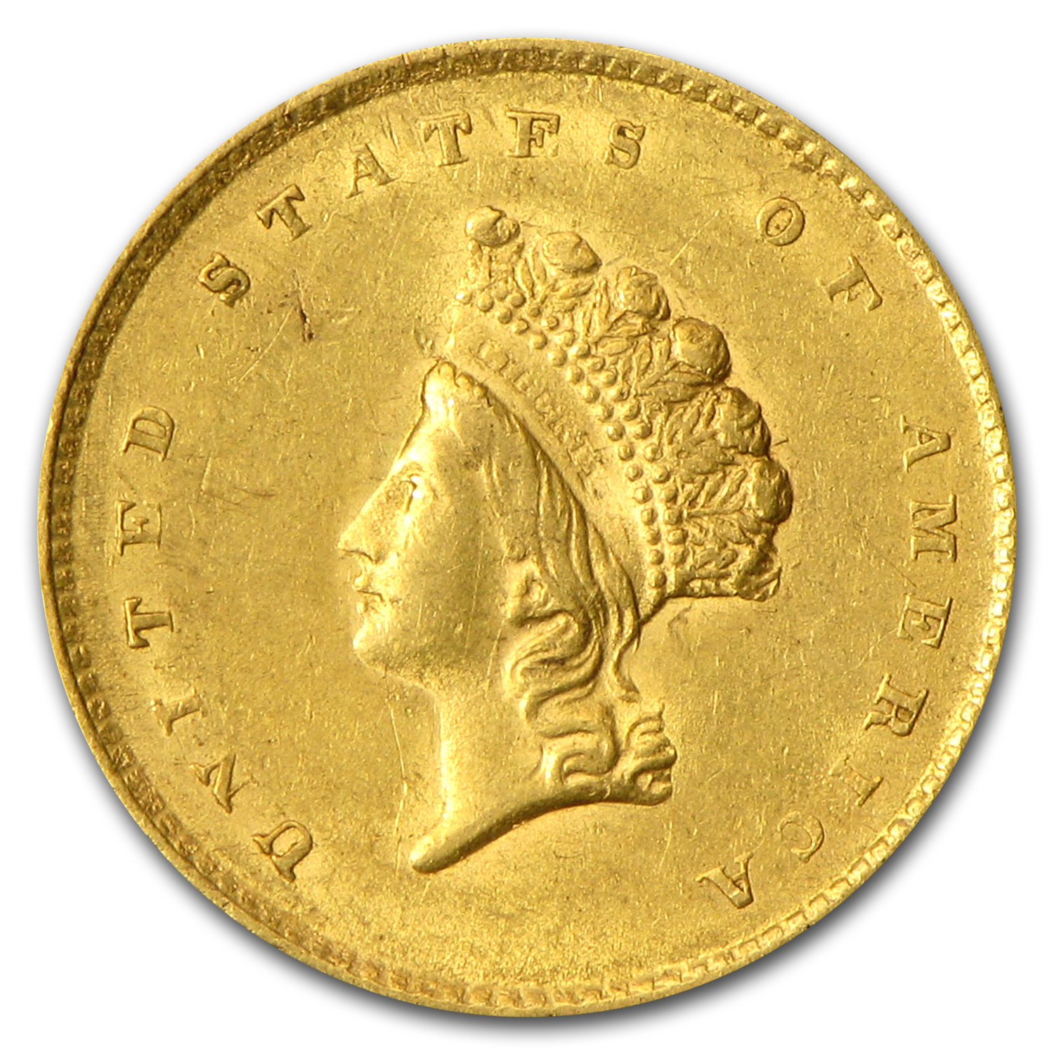 $1 Indian Head Gold - Type 2 - Almost Uncirculated