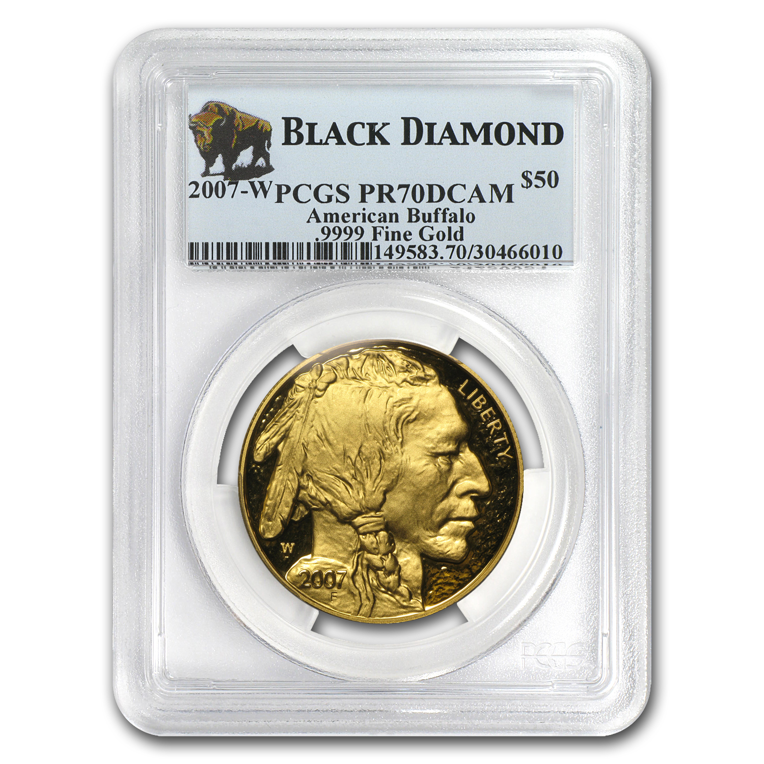 2007-W 1 oz Proof Gold Buffalo PR-70 PCGS (Black Diamond)