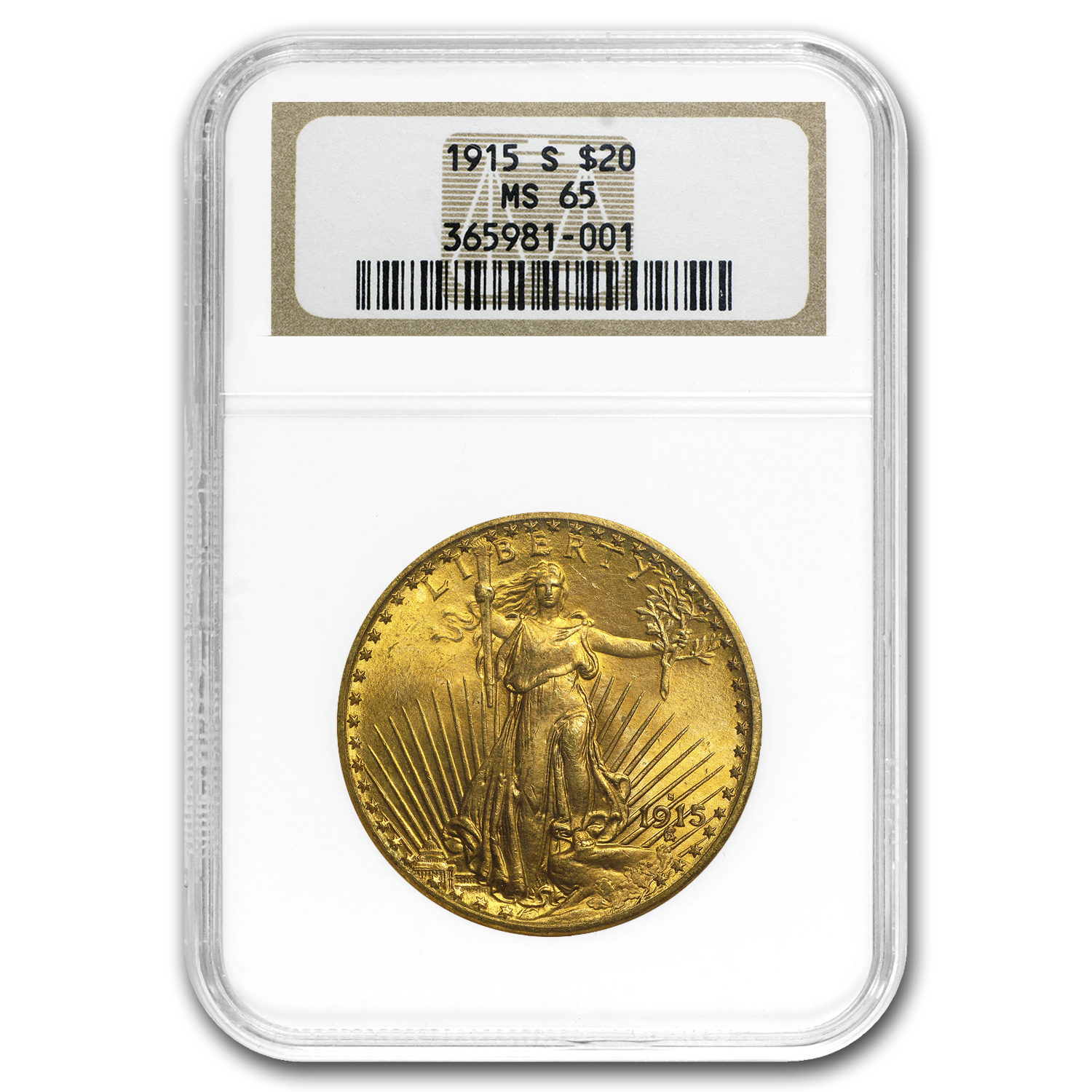 1915-S $20 Saint-Gaudens Gold Double Eagle MS-65 NGC