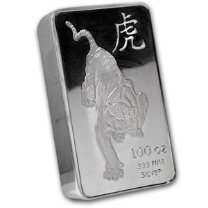 100 oz Silver Bar - Tiger (Proof-like)