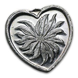 1/2 oz Silver Heart - Merry Christmas (Poinsettia)