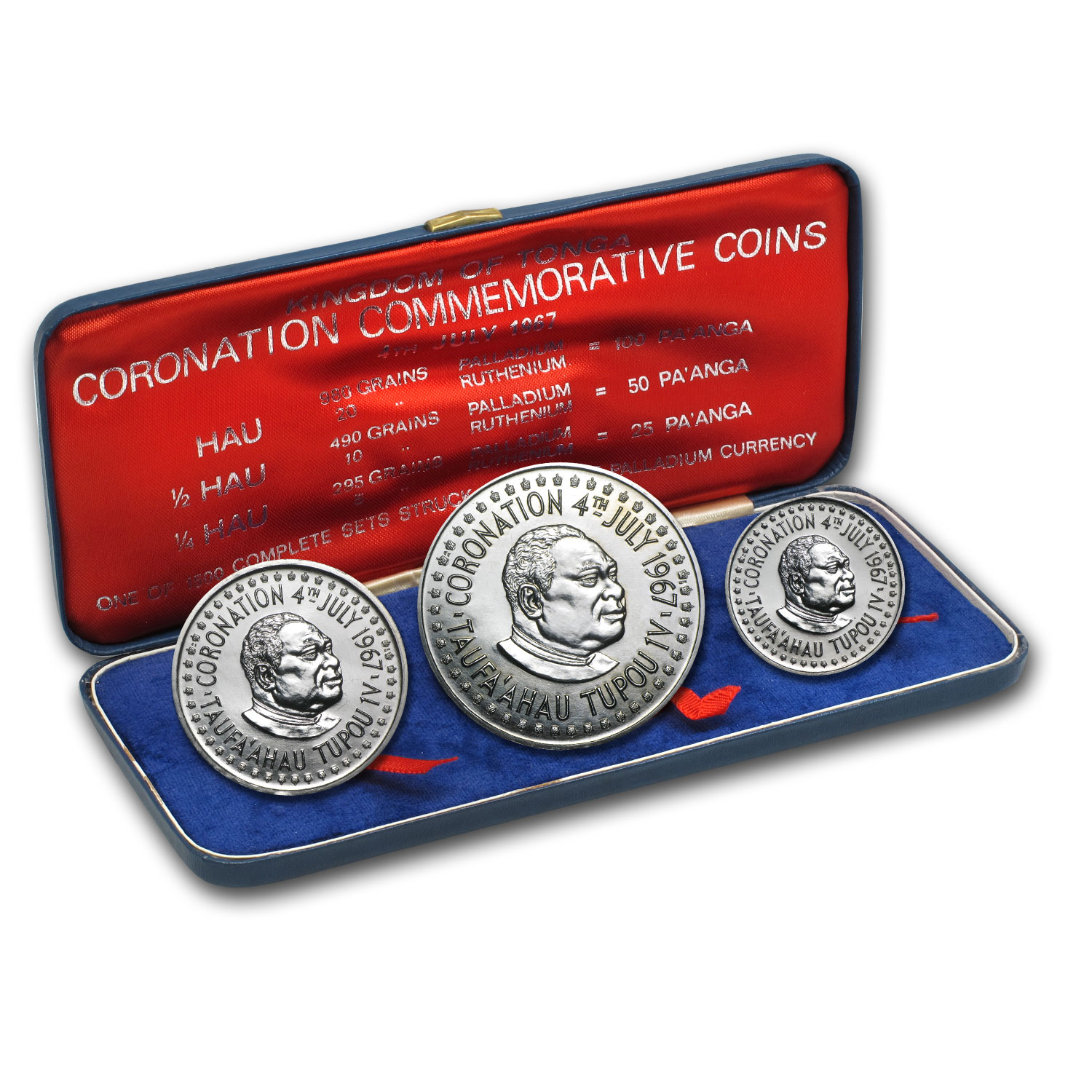 1967 Tonga 3-Coin Palladium Coronation Commem Set (3.529 APW)