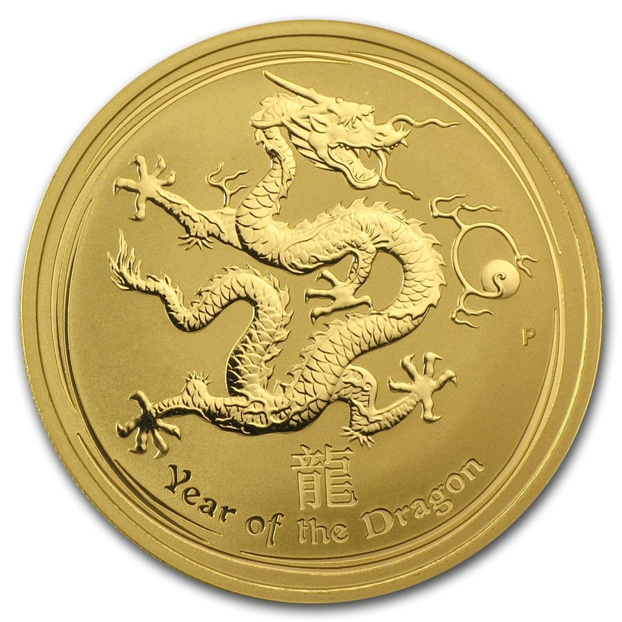 2012 1 oz Gold Lunar Year of the Dragon BU (Series II)