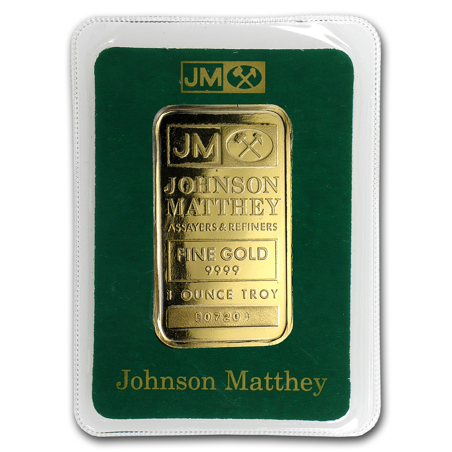 1 oz Gold Bars - Johnson Matthey (Logo Back, in Assay)