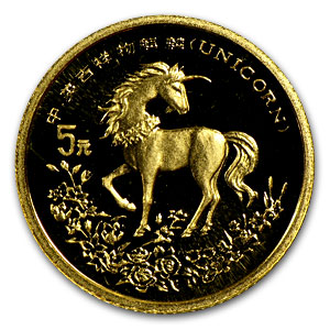 China 1994 Proof 5 Yuan Unicorn Gold 1/20 Coin (W/Box and Coa)