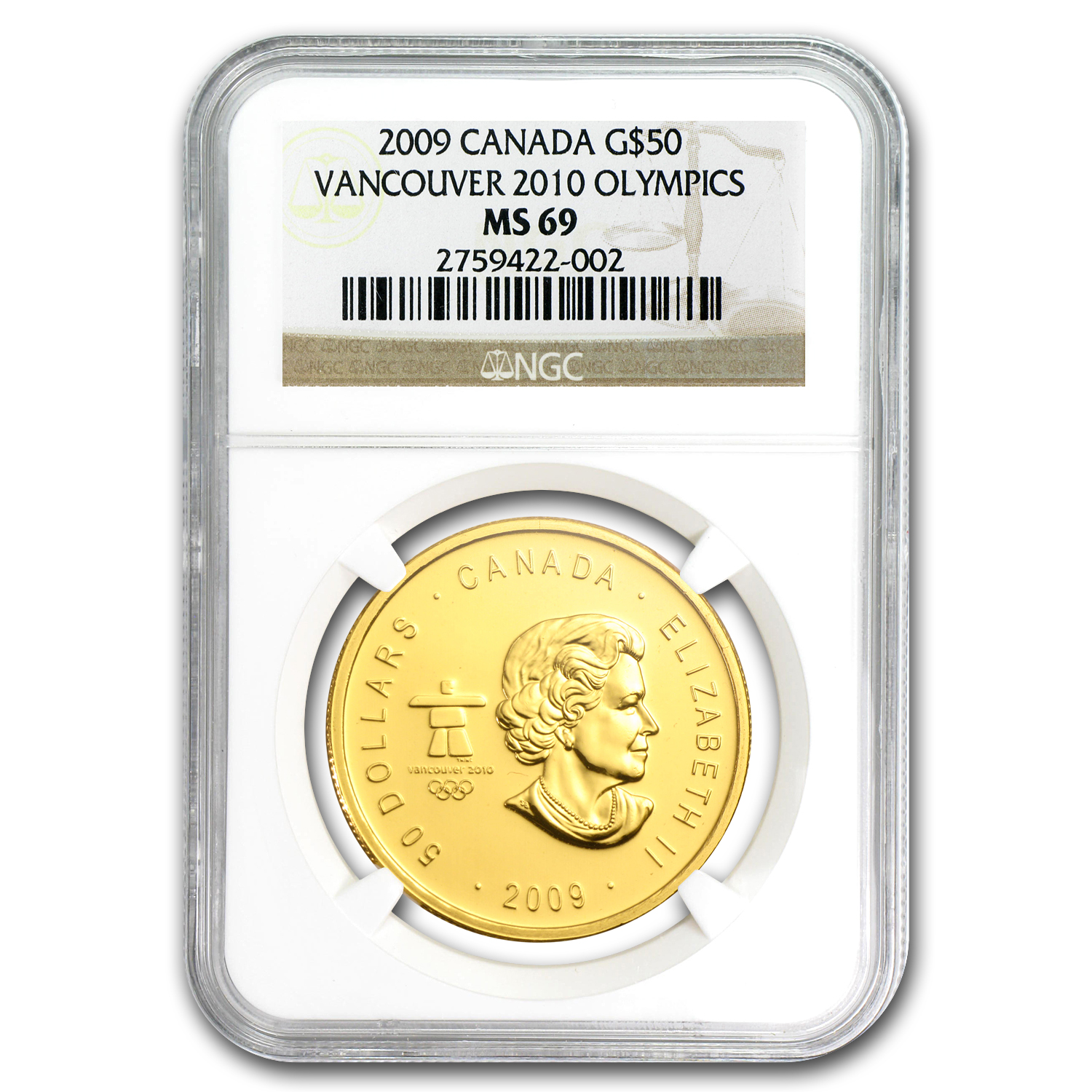 2009 Canada 1 oz Gold Maple Leaf MS-69 NGC (Vancouver)